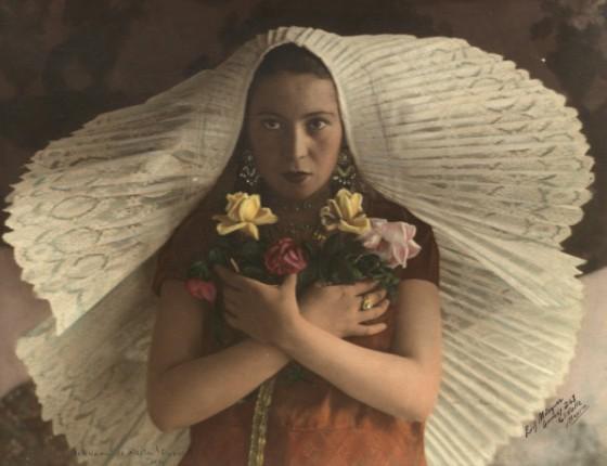 Handcoloredwomanholdingflower